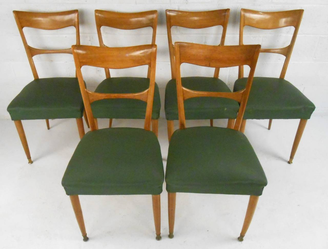 Mid-Century Modern Set of Osvaldo Borsani Style Dining Chairs For Sale