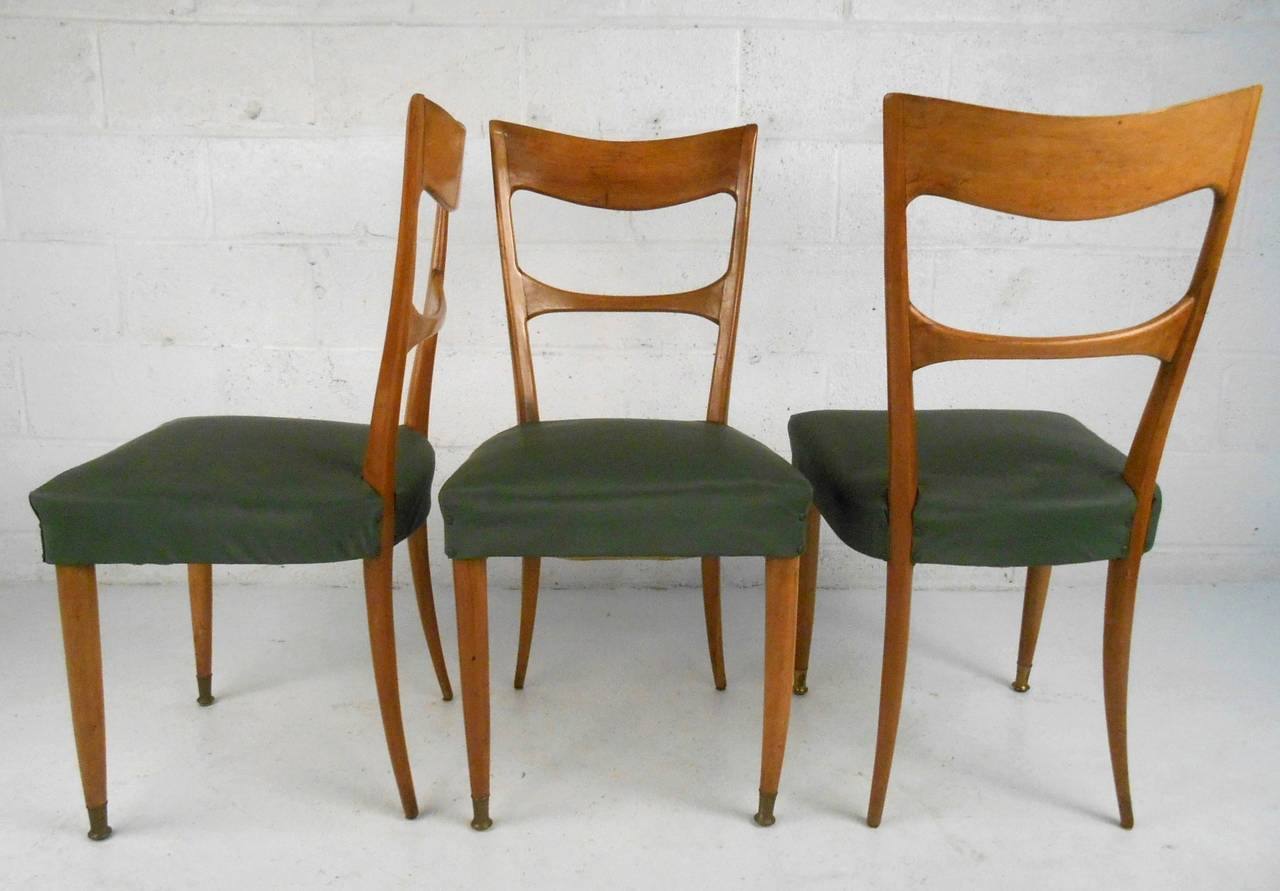 Italian Set of Osvaldo Borsani Style Dining Chairs For Sale