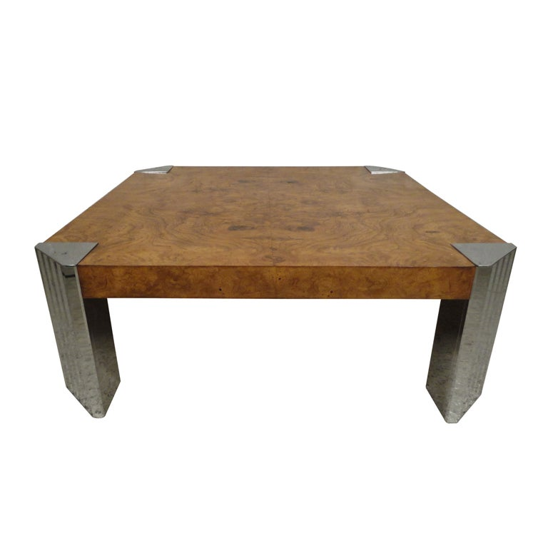 Milo Baughman Mid-Century Burl Wood Coffee Table