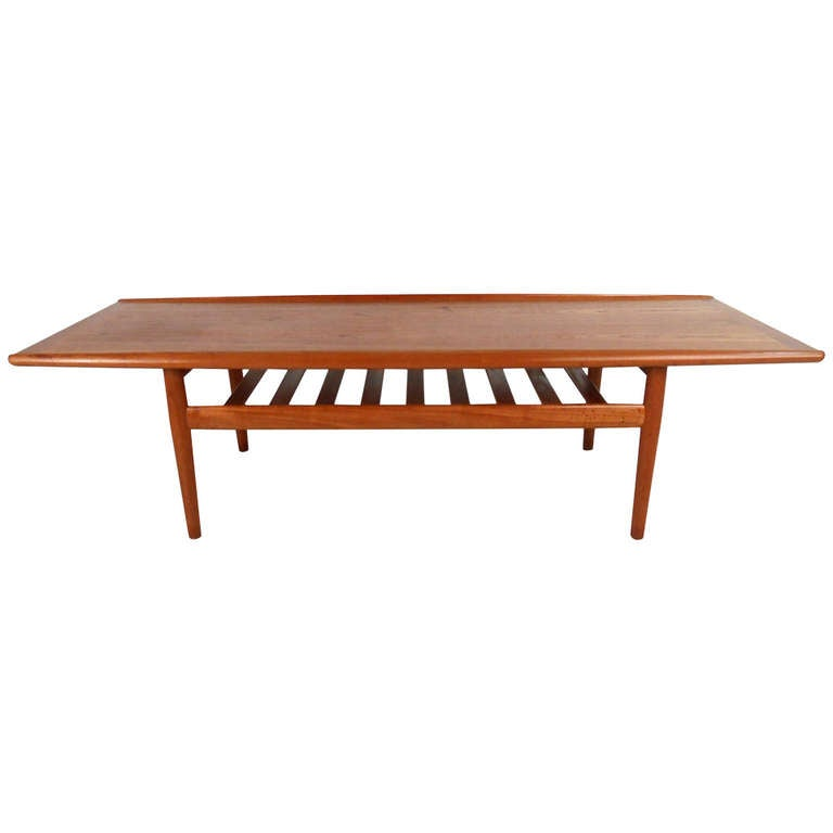 Danish Teak Coffee Table With Shelf By Grete Jalk At 1stdibs