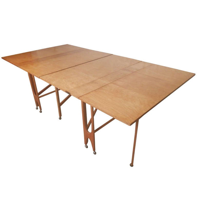 Massive Mid Century Maple Fold Out Dining Table For Sale