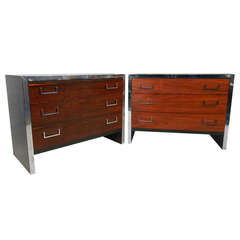Pair of Vintage Modern Rosewood and Chrome Three-Drawer Dressers