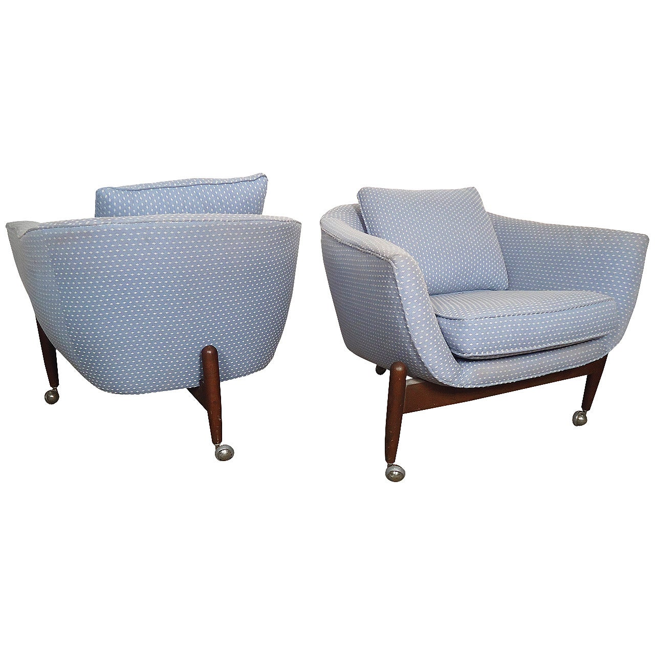 Pair of Mid-Century Modern Adrian Pearsall Barrel Back Armchairs