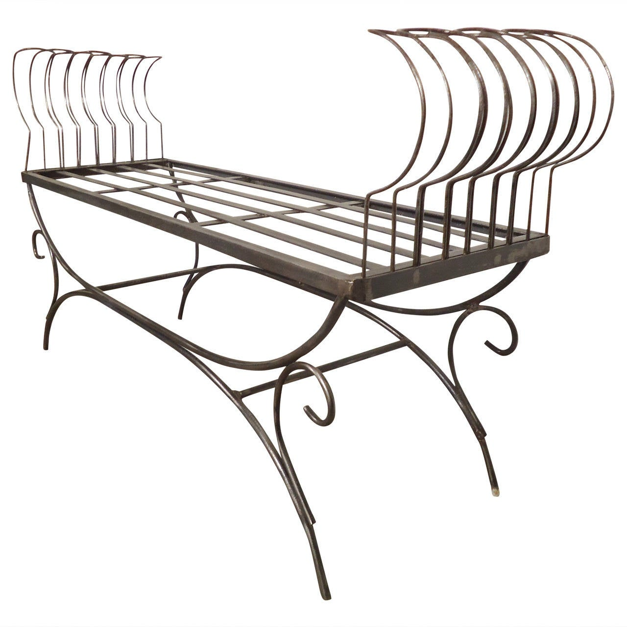 Rare Iron Bench with Ornamental Detailing For Sale