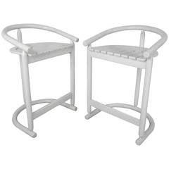 Pair Unique Slat Seat Mid-Century Modern Style Counter Stools