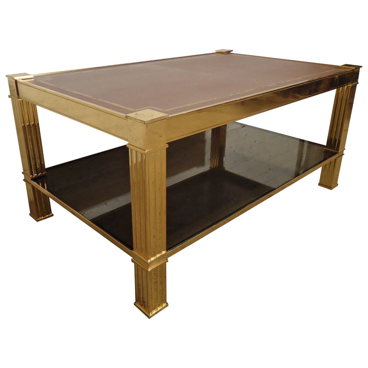 Gorgeous Mastercraft Style Brass And Glass Coffee Table With Leather Top For Sale At 1stdibs