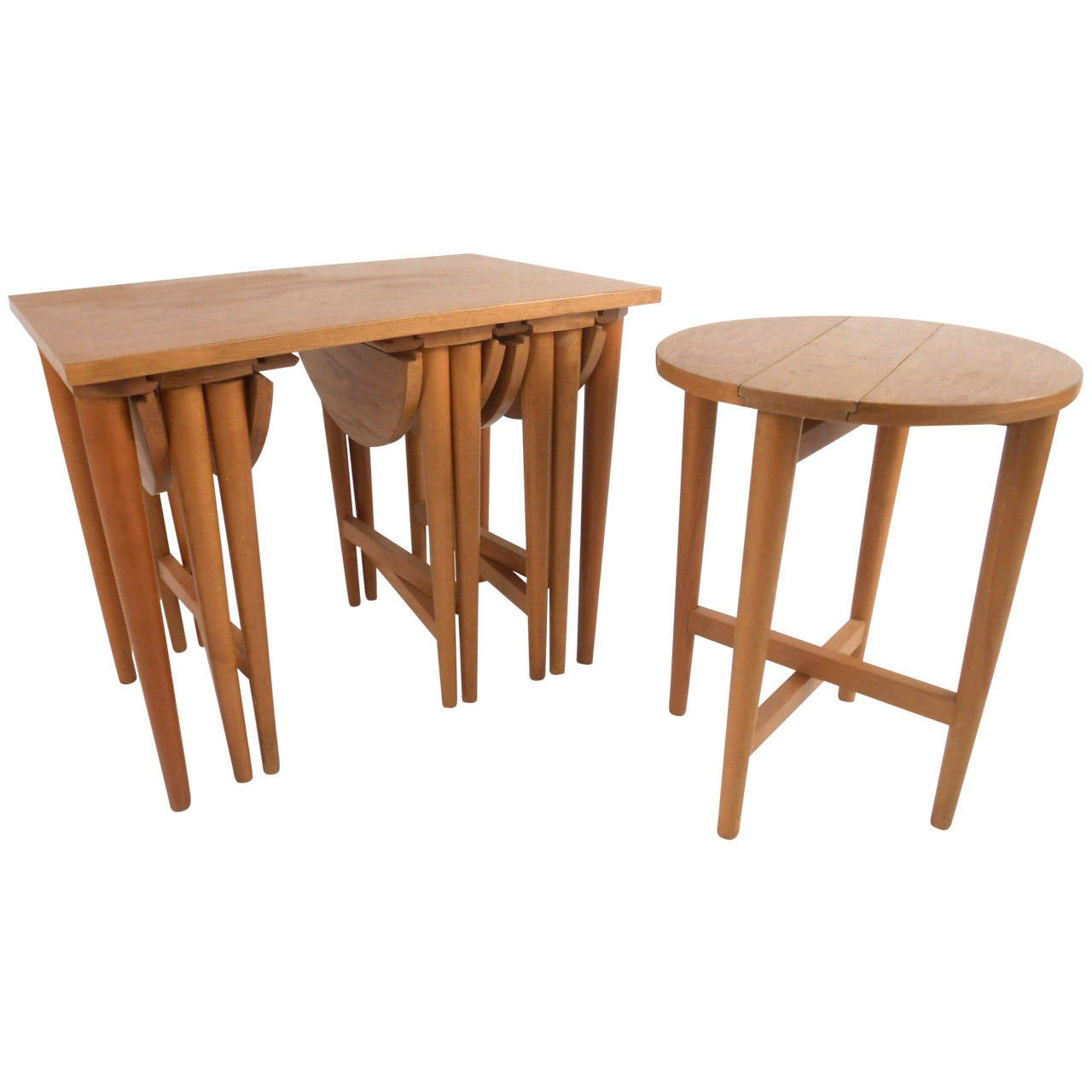 Mid Century Modern Carlo Jensen Style Nesting Table Set For Sale