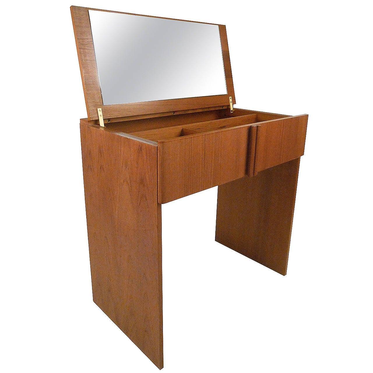 Mid century modern danish teak vanity dressing table by for Modern dressing table