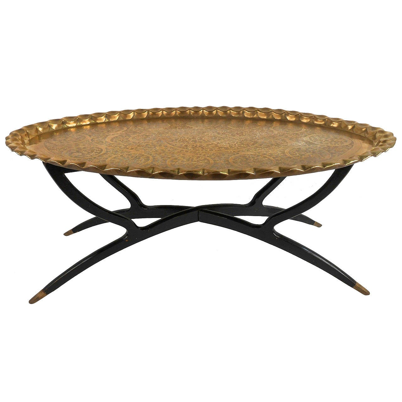 Mid century modern moroccan style tray coffee table at 1stdibs for Trays on coffee tables