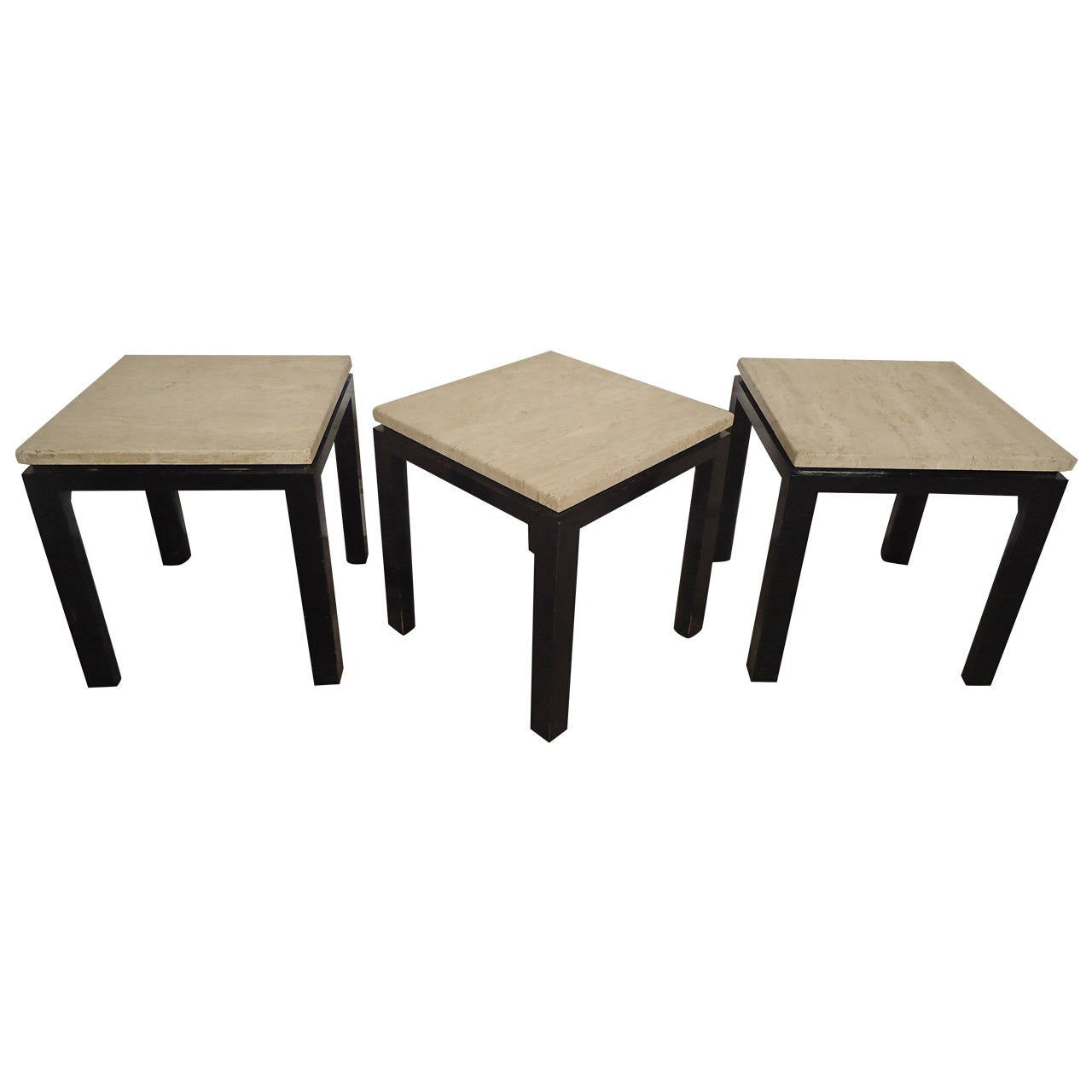 Mid-Century Set of Three Marble-Top Harvey Probber End Tables