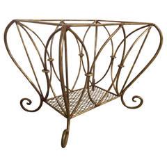 Hollywood Regency Style Wrought Iron Basket
