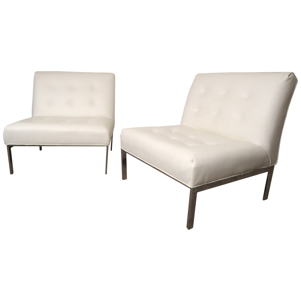 Recovered Milo Baughman Style Slipper Chairs