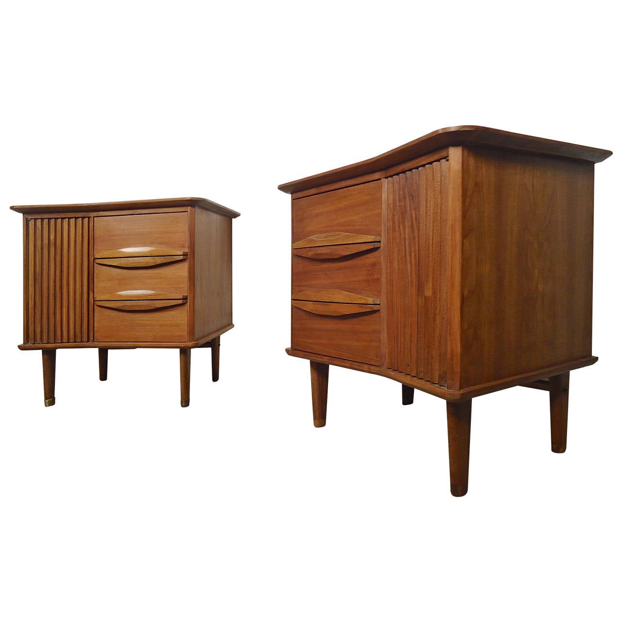 Distinct Mid Century Modern Angled Top Nightstands At 1stdibs