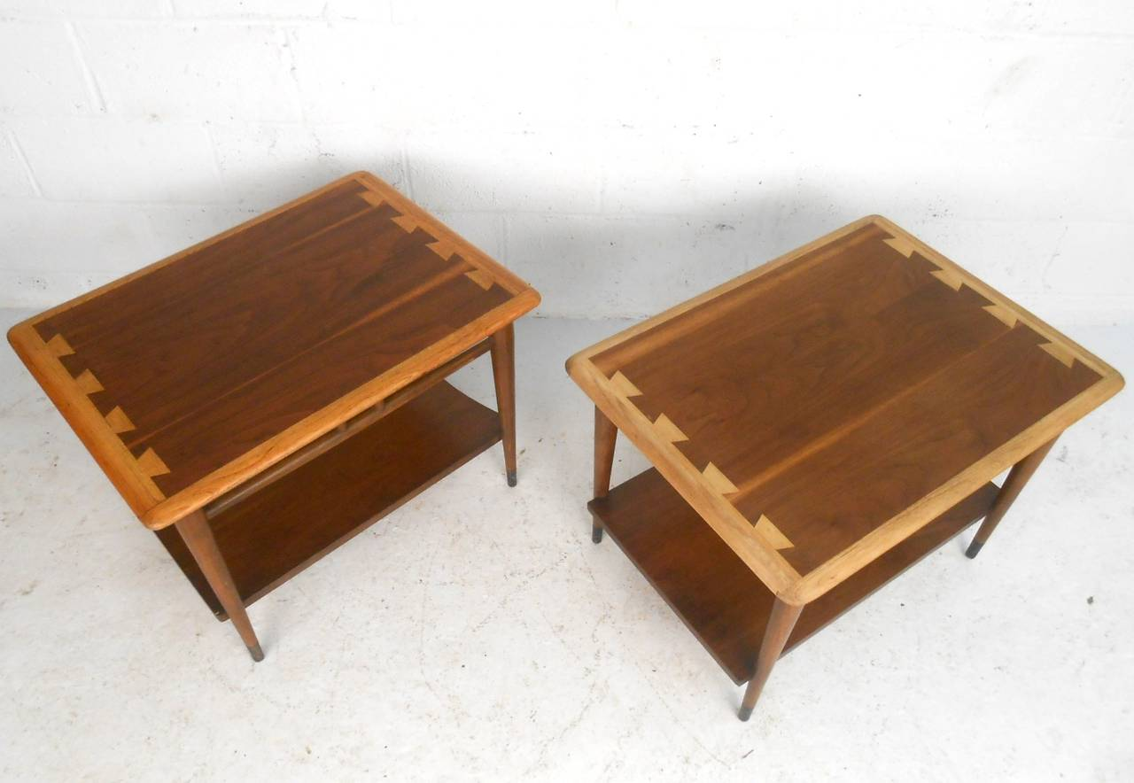 Genial This Pair Of Vintage End Tables Feature The Dovetailed Two Tone Detail Lane  Perfected With Their
