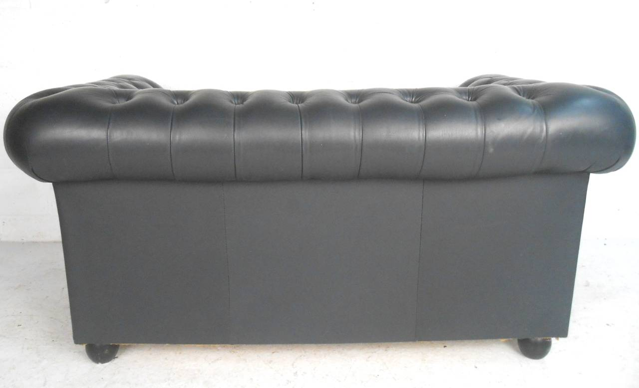 Mid Century Modern Unique Leather Chesterfield Two Seat