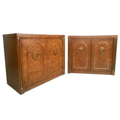 Pair of Mid-Century Modern Style Burlwood and Brass Dressers by Weiman
