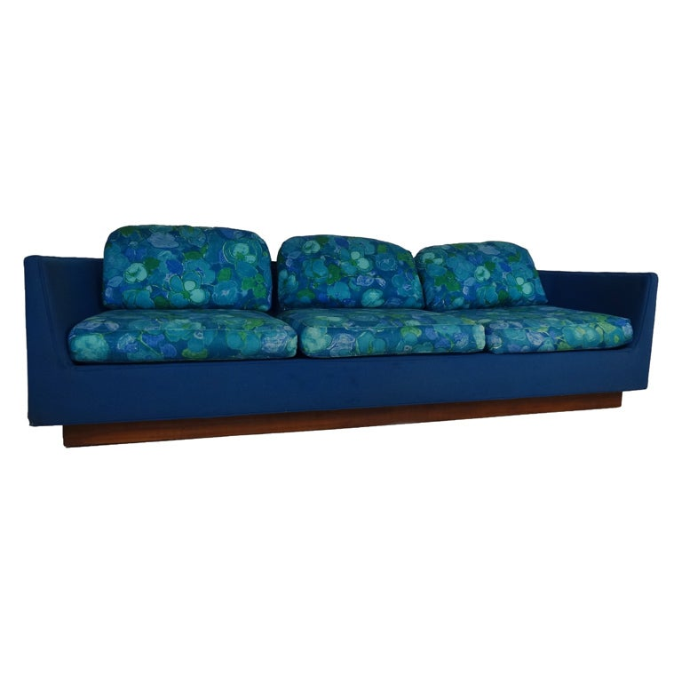 Long three seat mid century modern sofa by selig for sale for Long couches for sale