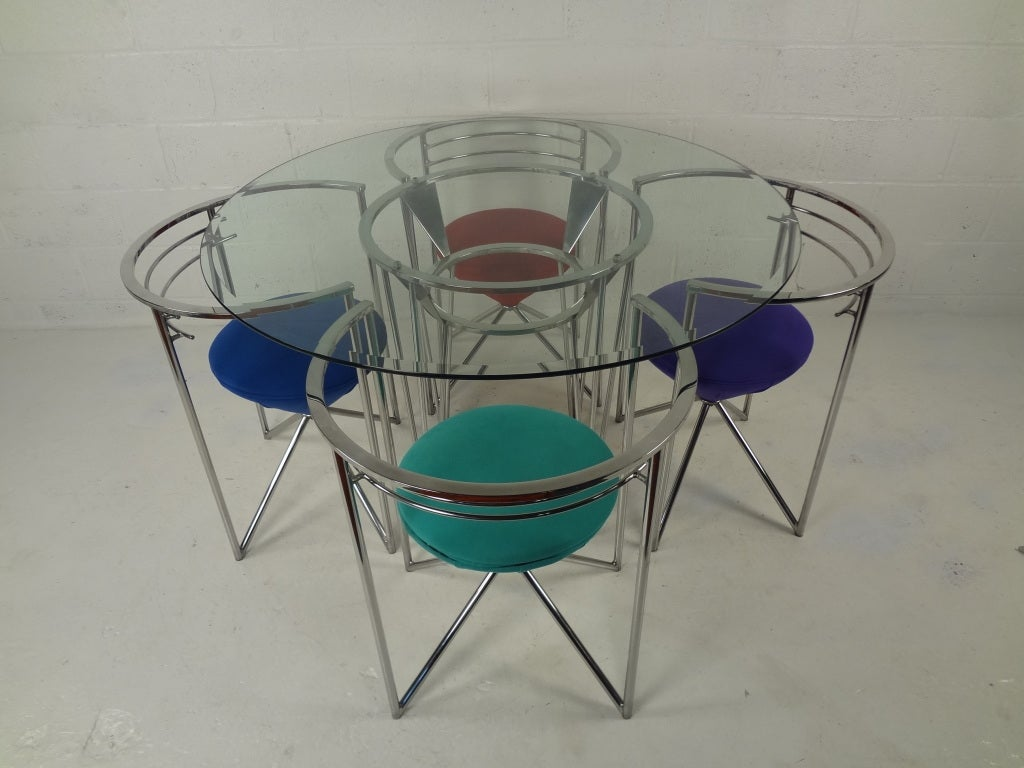 70s Retro Glass and Chrome Dining Table and Chairs at 1stdibs