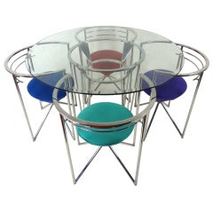 70s Retro Glass & Chrome Dining Table and Chairs