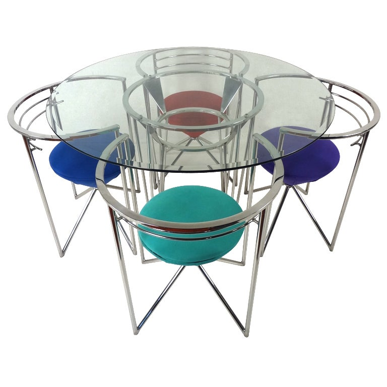 Retro Glass and Chrome Dining Table and Chairs at 1stdibs