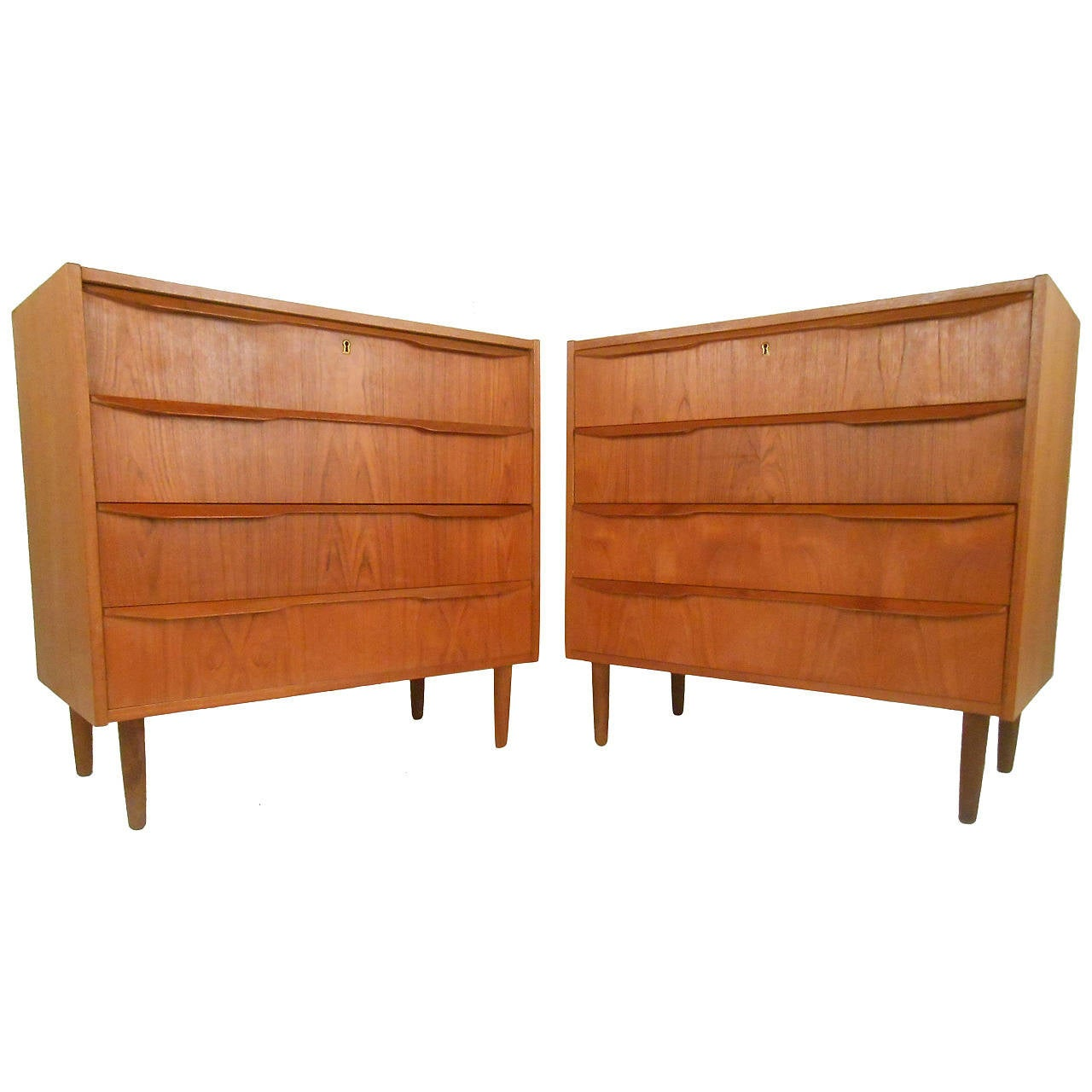 Pair Of Danish Teak Dresssers For Sale At 1stdibs