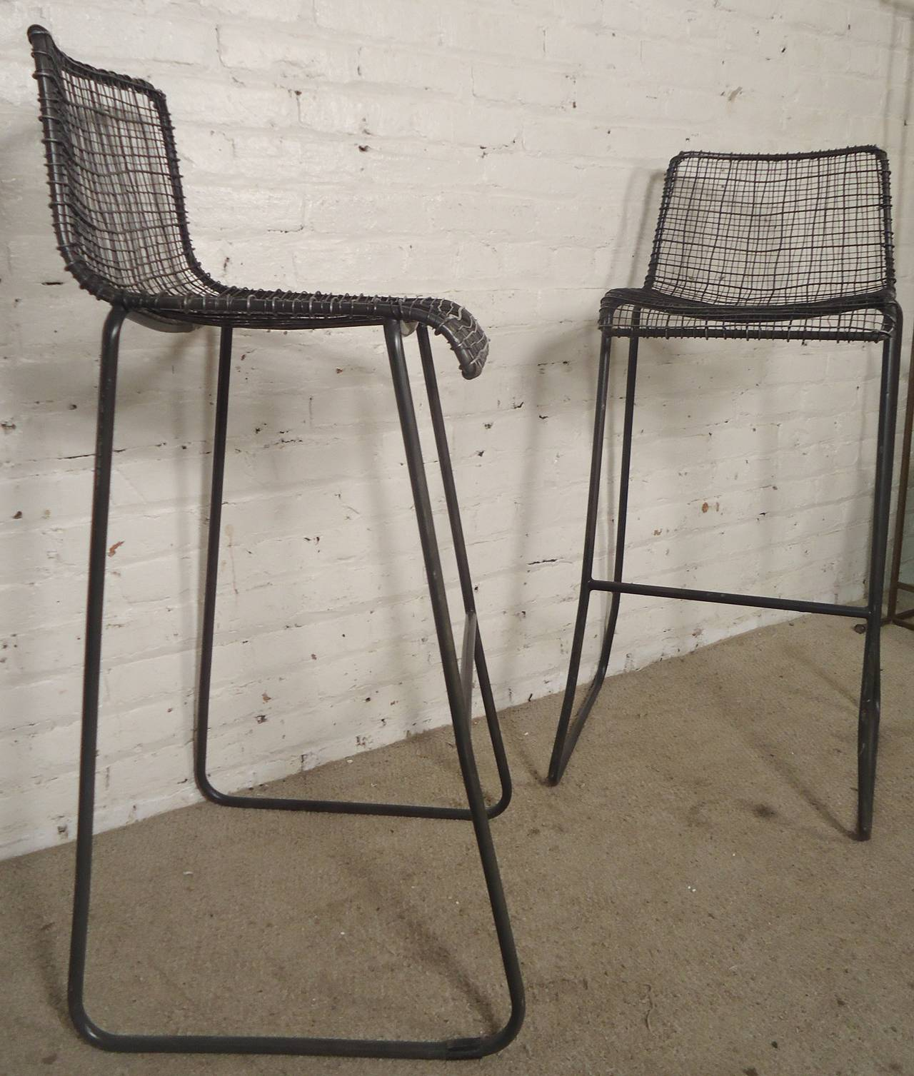 American Handsome Pair Of Modern Woodard Style Reed Zinc Stools For Sale Ideas