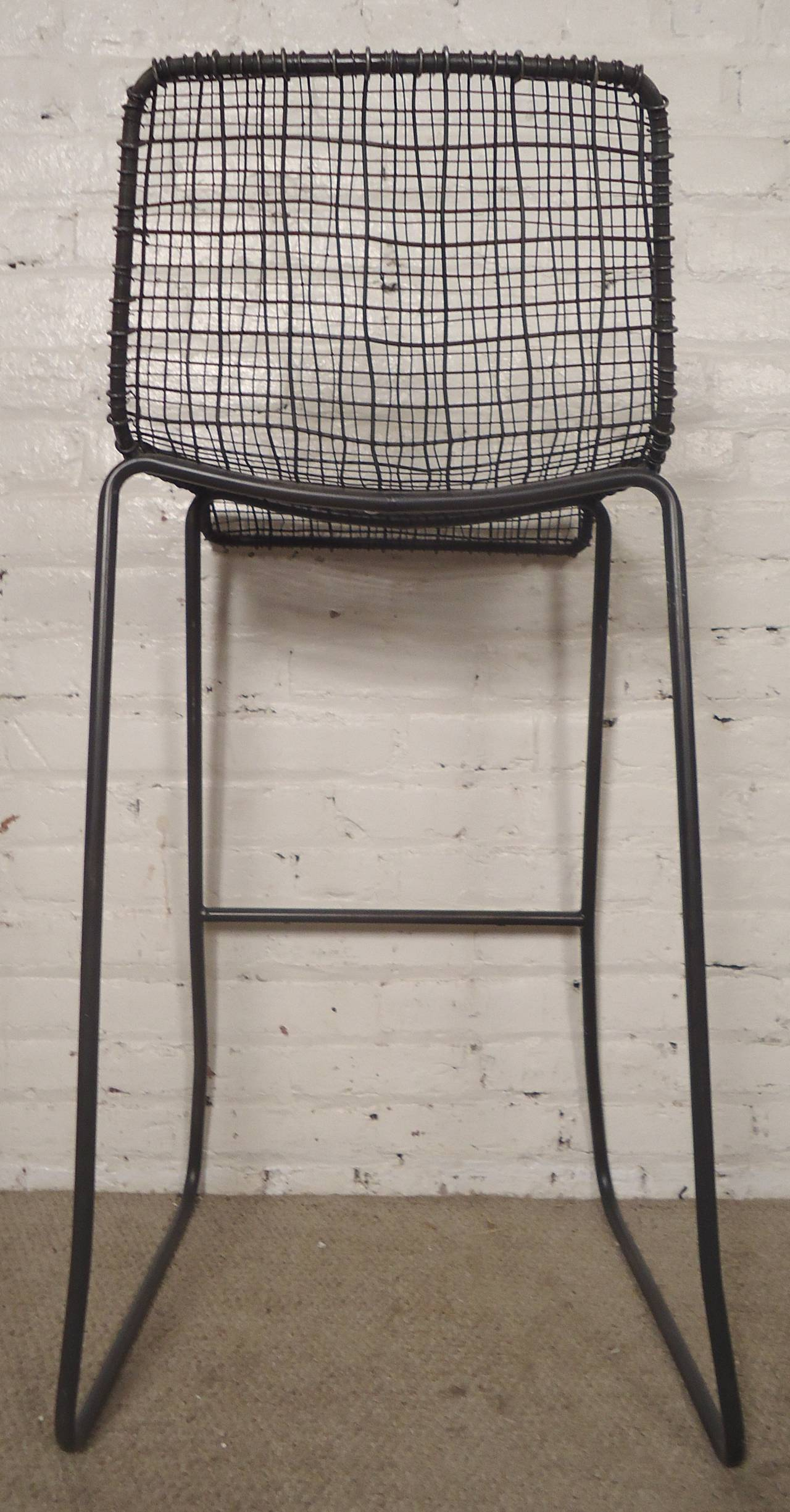 Mid Century Modern Handsome Pair Of Modern Woodard Style Reed Zinc Stools  For Sale Great Pictures