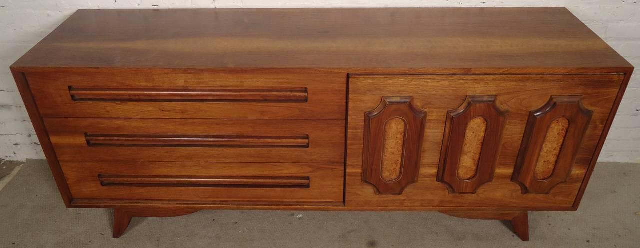 mid century modern walnut and burl wood dresser at 1stdibs