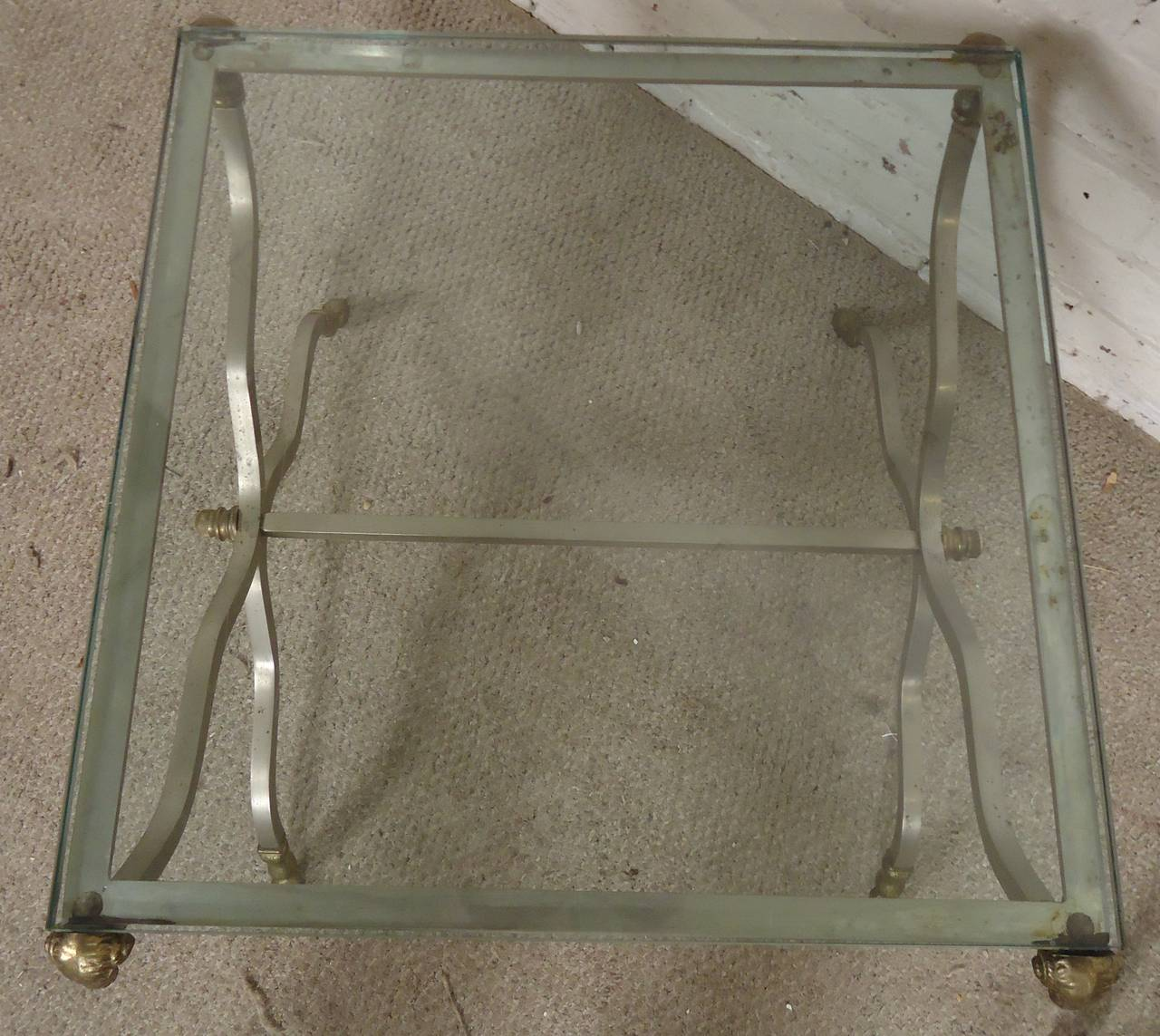 Hollywood Regency Style Decorative Iron And Brass Side