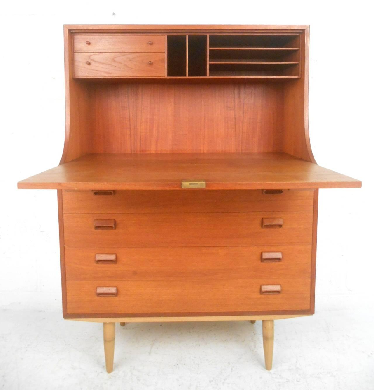mid century modern teak secretary desk by b rge mogenson. Black Bedroom Furniture Sets. Home Design Ideas