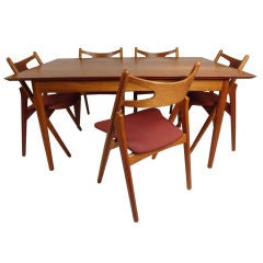 Hans Wegner Teak Dining Table and Chairs