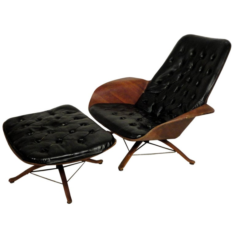 Plycraft Lounge Chair And Ottoman For Sale