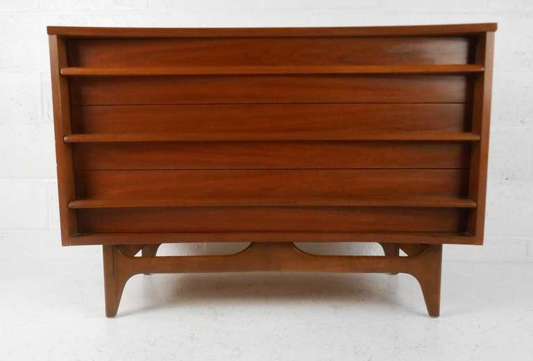 Mid Century Modern Walnut Curved Front Dresser at 1stdibs