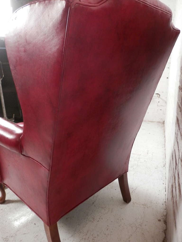 20th Century Tufted Wingback Chair w/ Ottoman For Sale