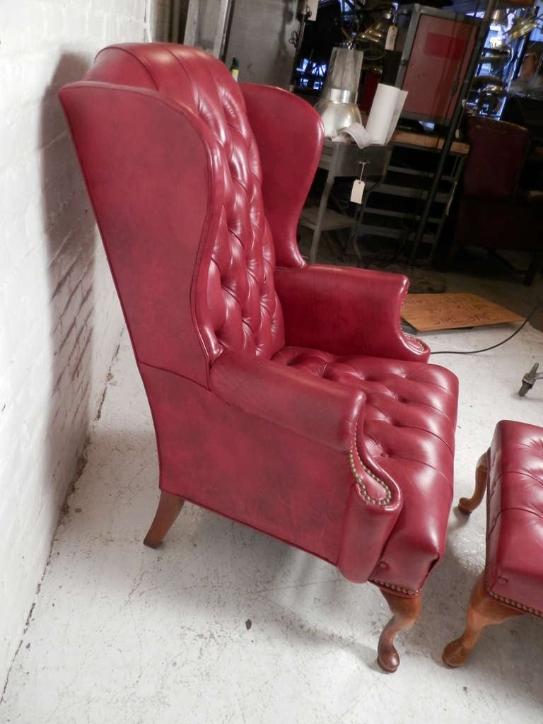 Tufted Wingback Chair w/ Ottoman For Sale 4