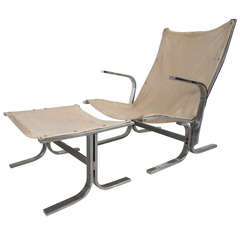 Ingmar Relling Style Sling Lounge Chair and Ottoman