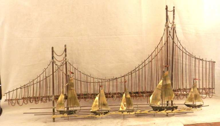 Golden Gate Bridge Metal Sculpture For C Jere Inspired Comprised Of Mixed Metals Making Up A Lovely Scene Boats Sailing