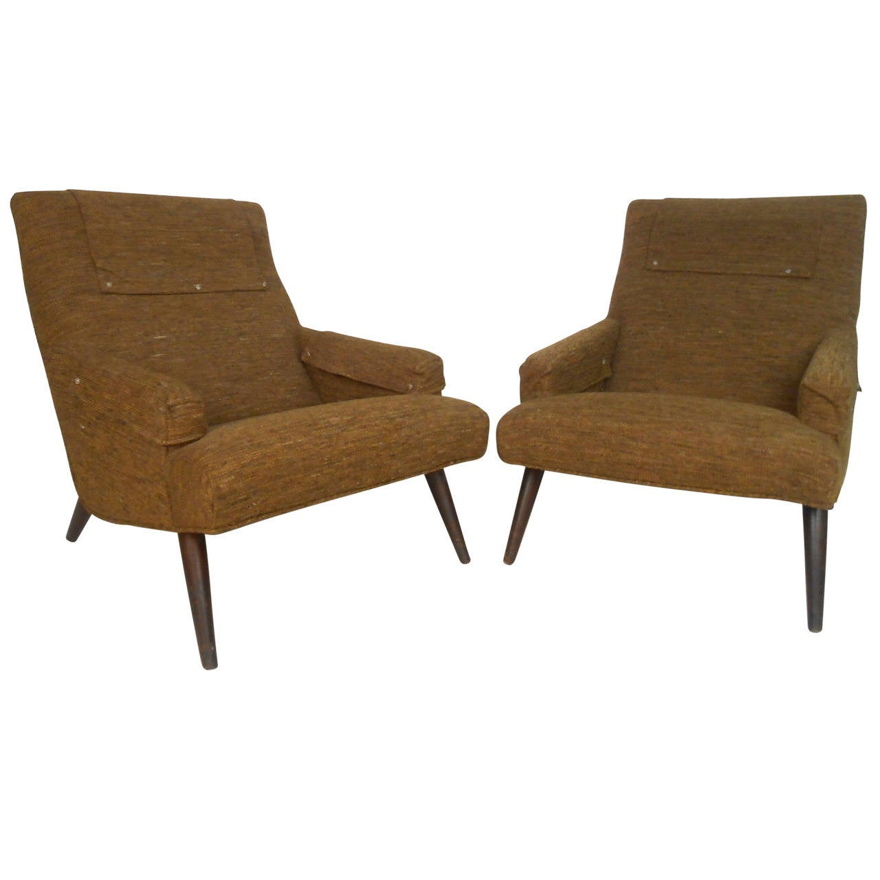 Pair Of Unique Mid Century Modern Lounge Chairs With Ottomans For