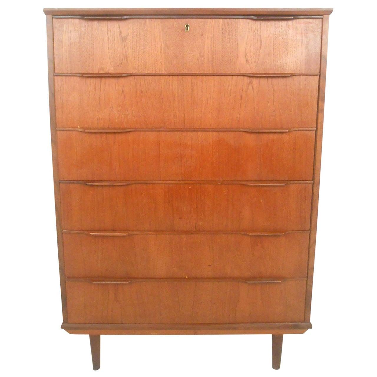 Mid Century Modern Six Drawer Danish Teak Highboy Dresser For Sale