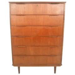 Mid-Century Modern Six Drawer Danish Teak Highboy Dresser