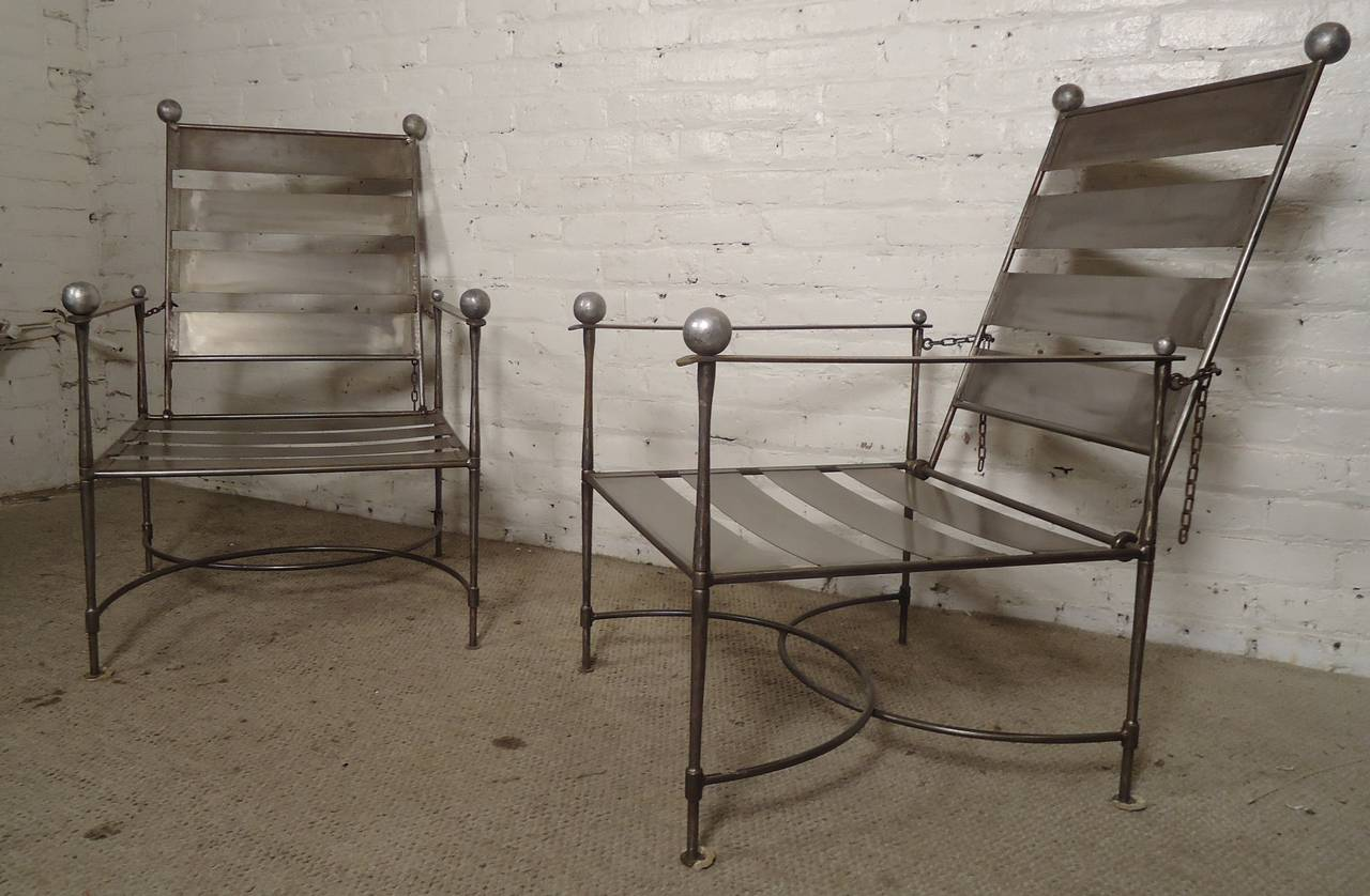 unusual pair of industrial slatted folding metal armchairs for sale at