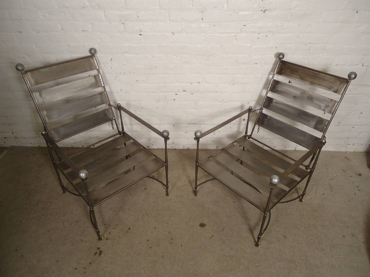 of industrial slatted folding metal arm chairs for sale at 1stdibs