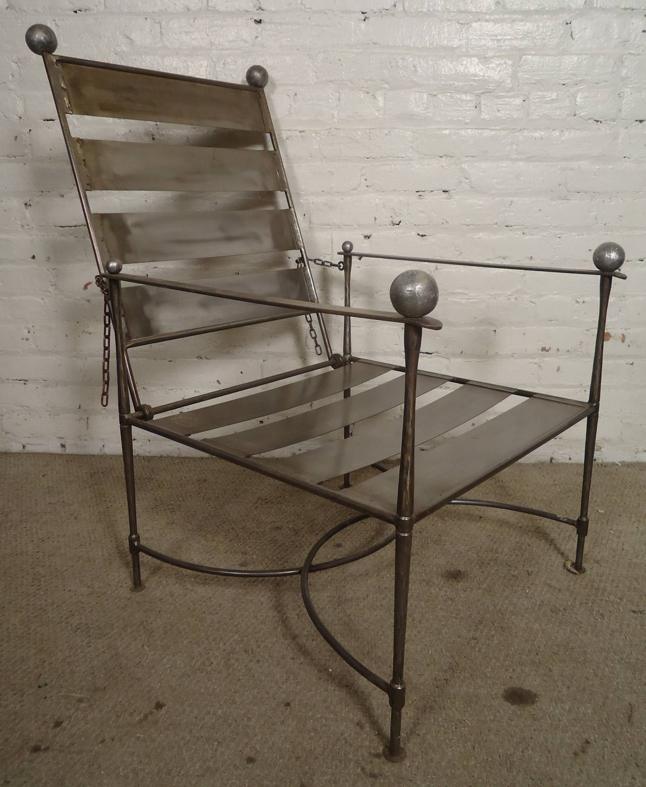Unusual Pair Of Industrial Slatted Folding Metal Armchairs