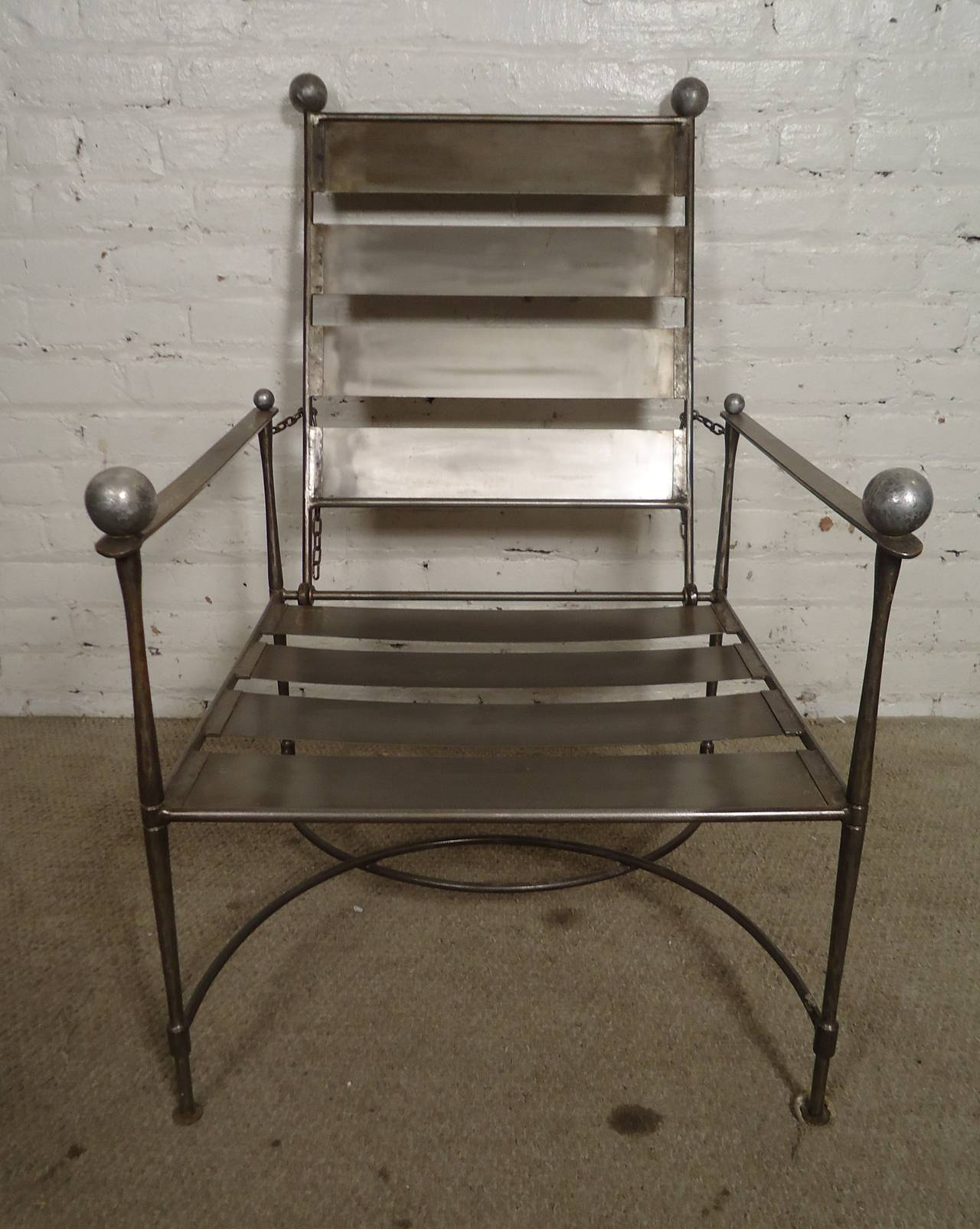 Unusual Pair Of Industrial Slatted Folding Metal Armchairs For Sale At 1stdibs