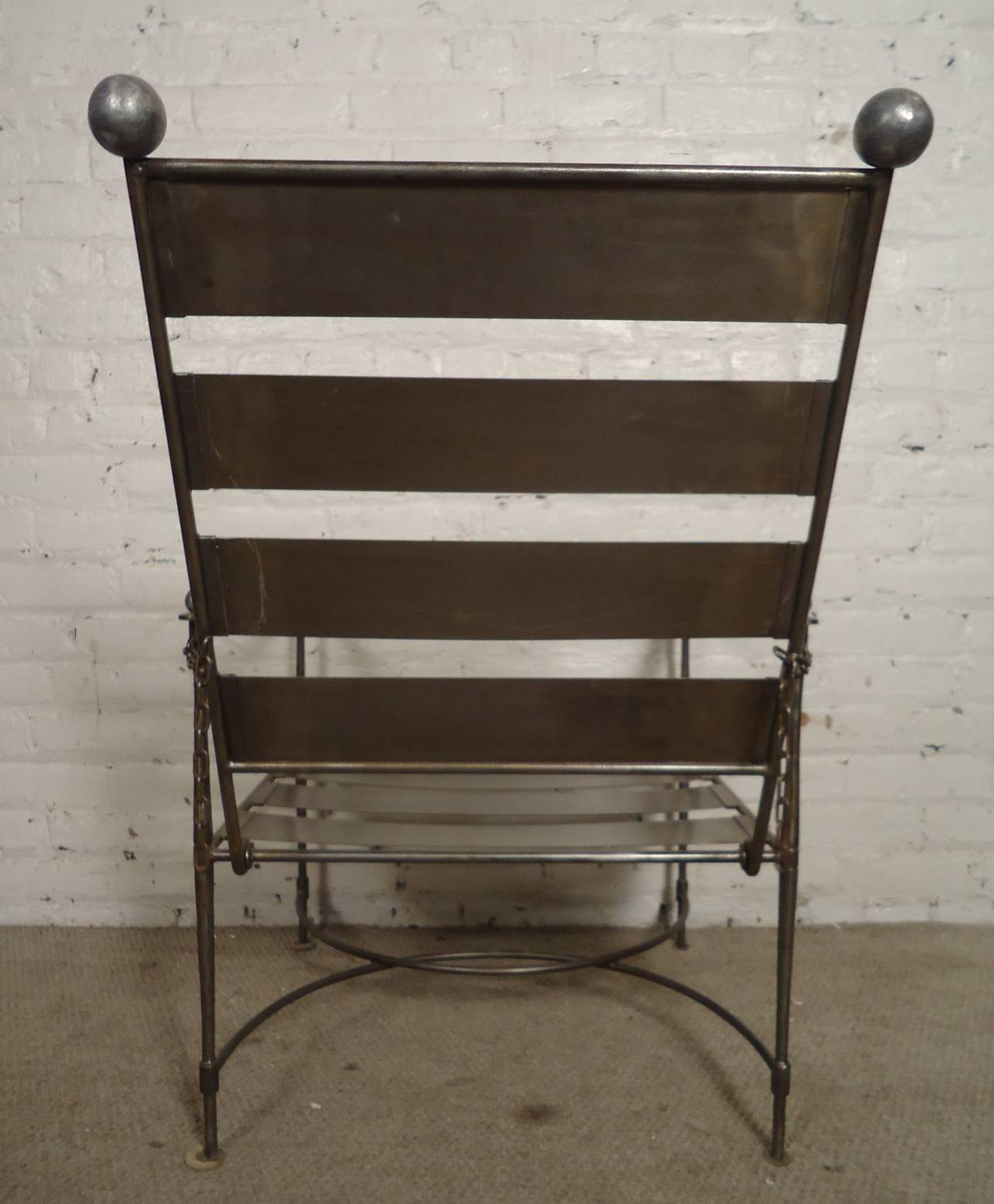 unusual pair of industrial slatted folding metal arm chairs at 1stdibs