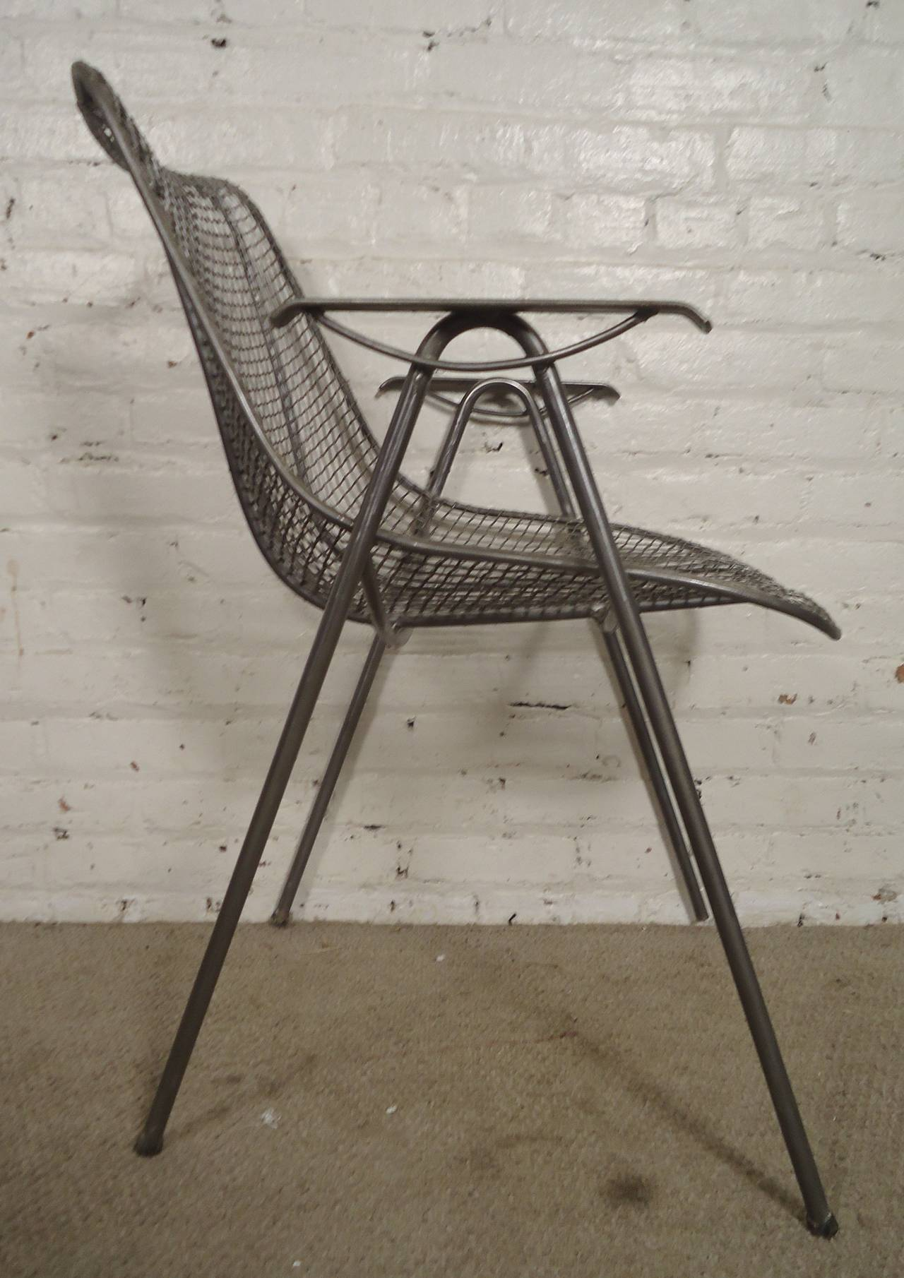 Vintage mid century modern metal folding wire mesh patio chairs - Mid Century Modern Wire Arm Chair 3