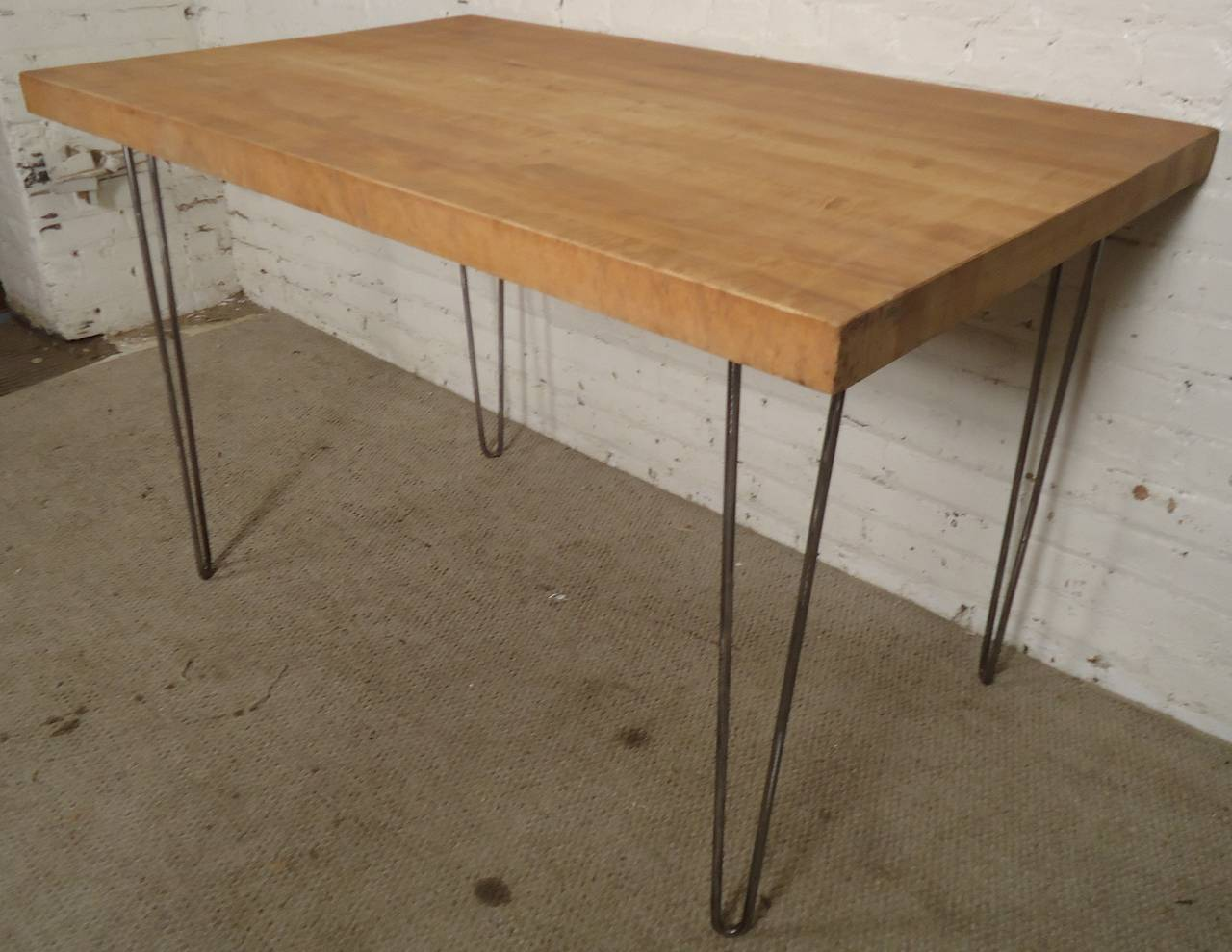 butcher block table on iron hairpin legs 3