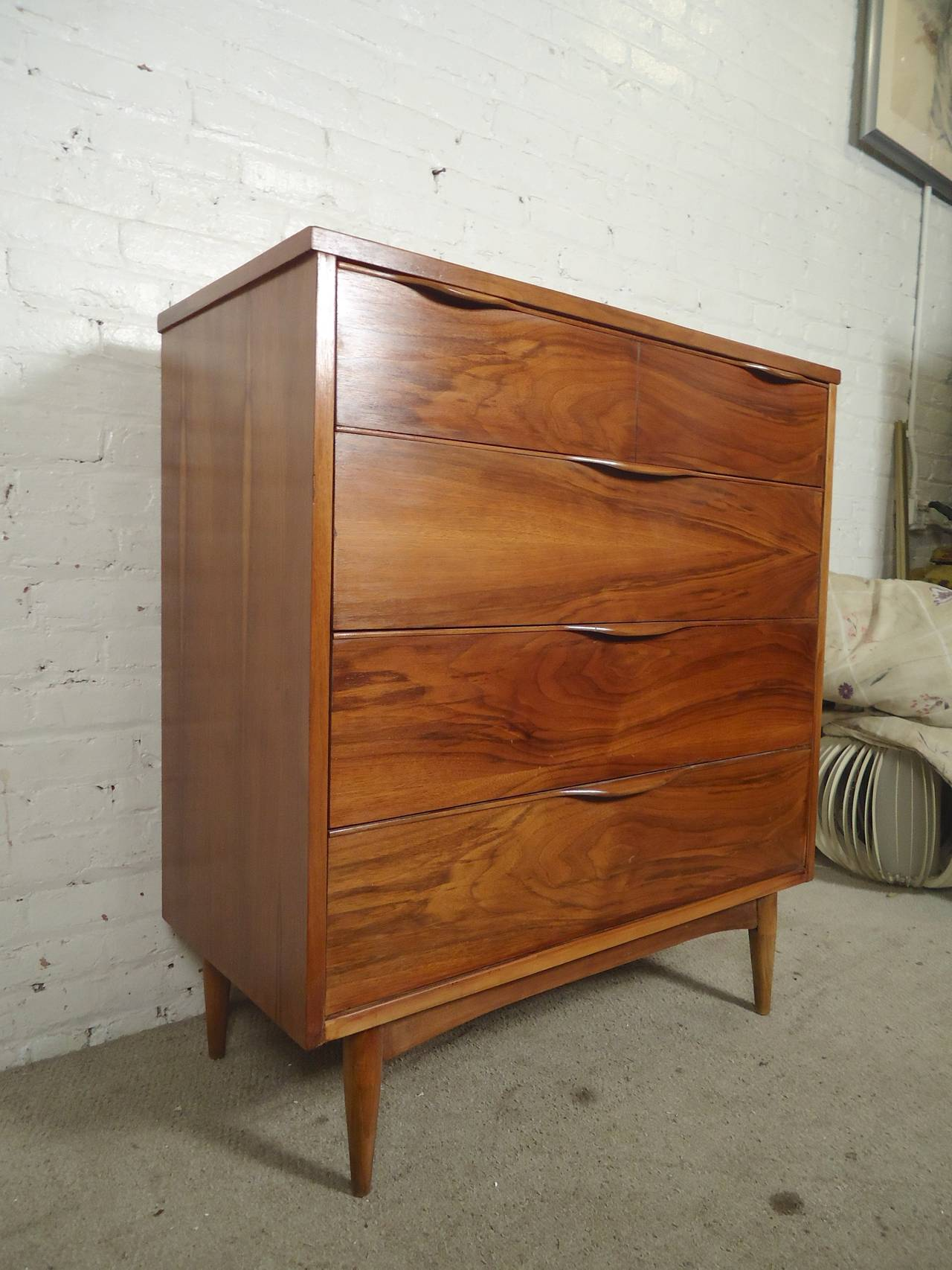 Unusual American Dresser With Curved Handles And Tapered Legs Four Wide Drawers Gorgeous Walnut