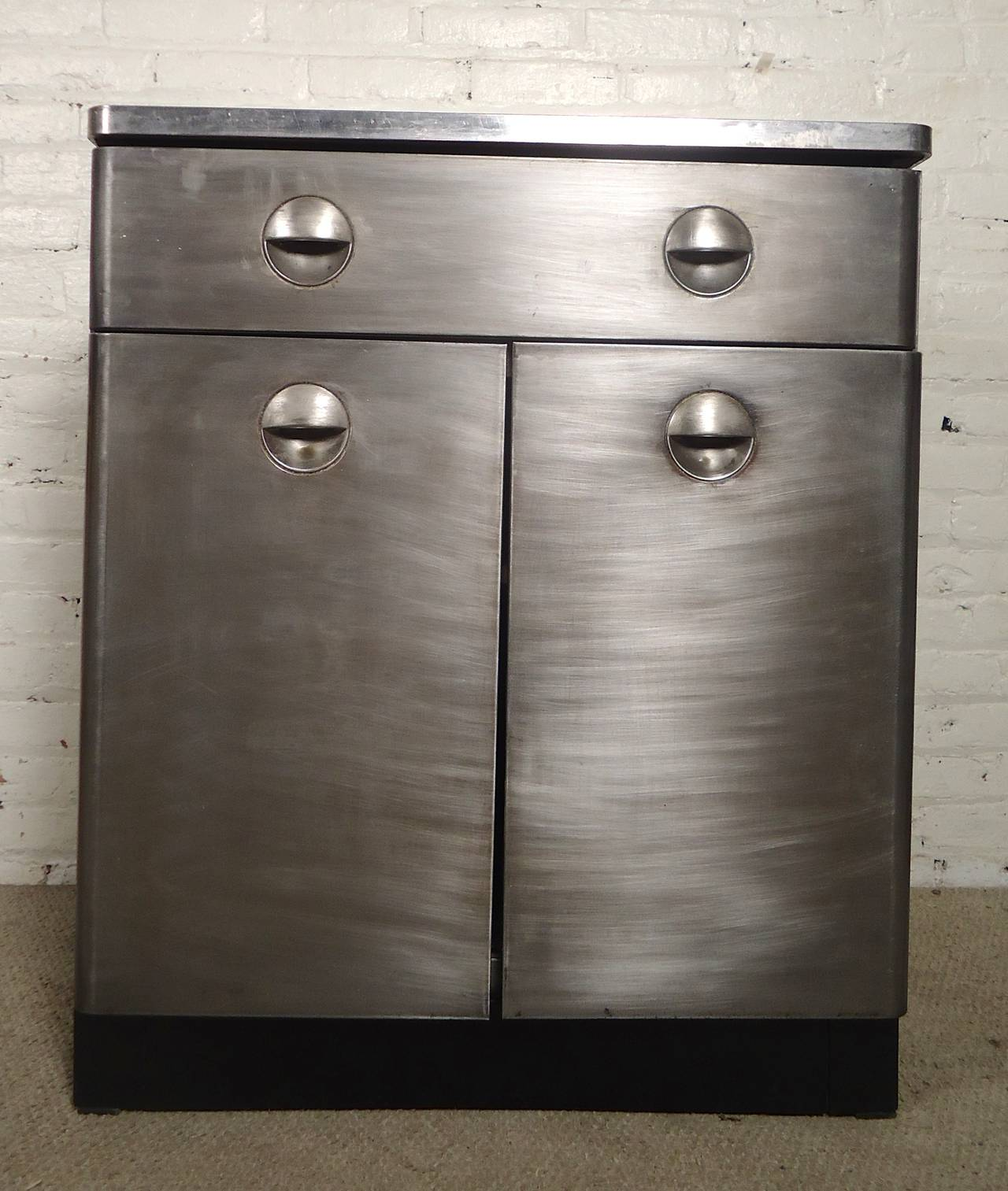 Vintage Cabinet With A Bare Metal Style Finish Deco Pulls White Top