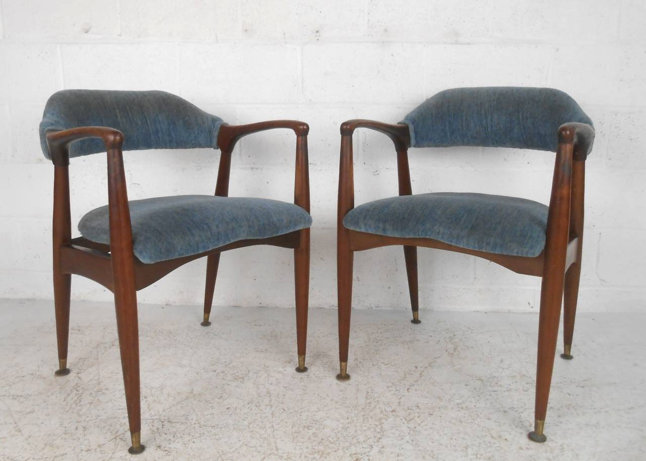 set of unique mid century modern walnut dining chairs at